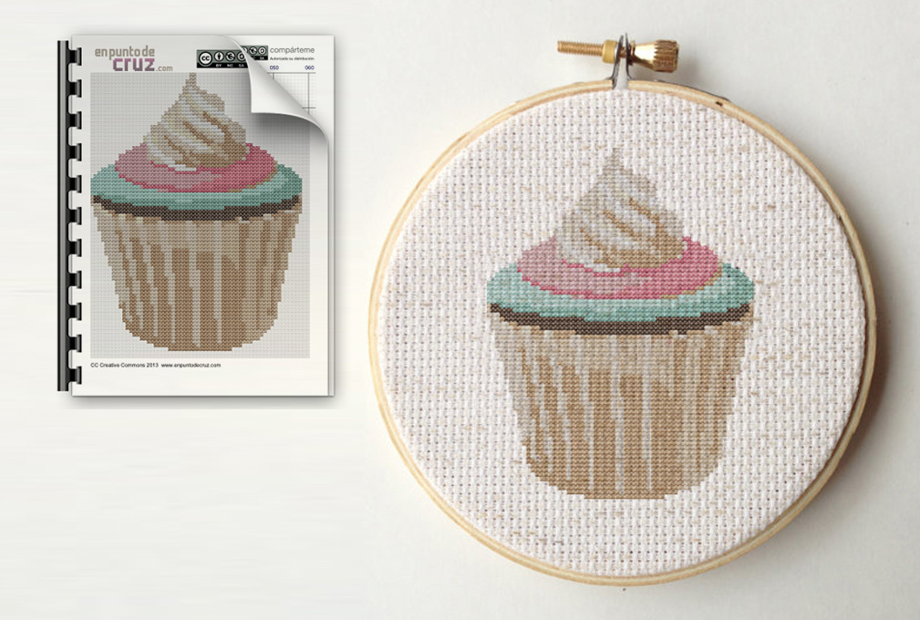 Patrón punto de cruz gratis: Cupcake.