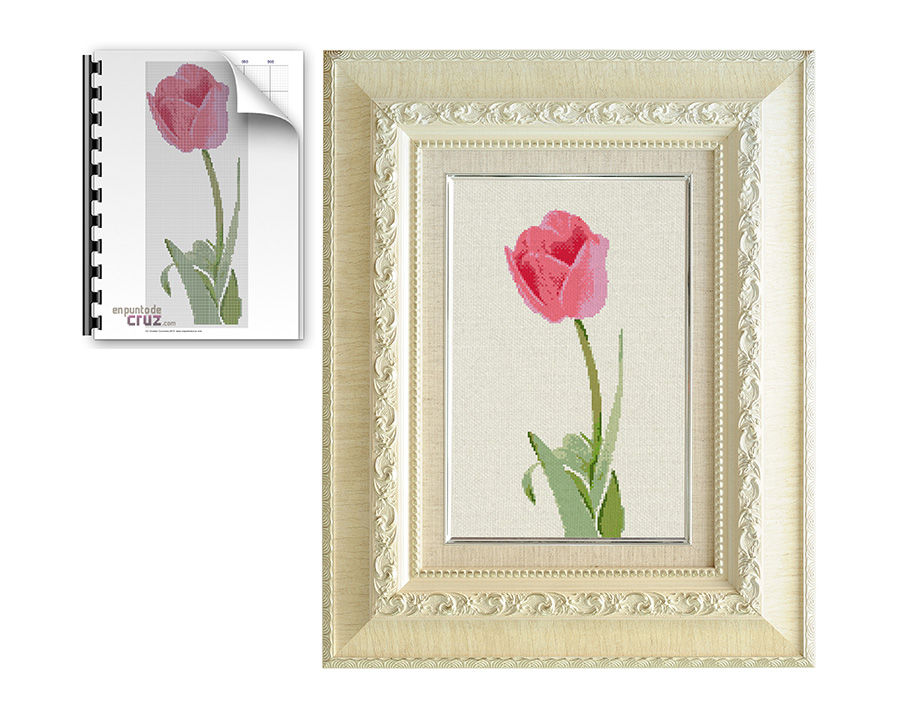 Patrón gratis semanal en punto de cruz: Tulipán