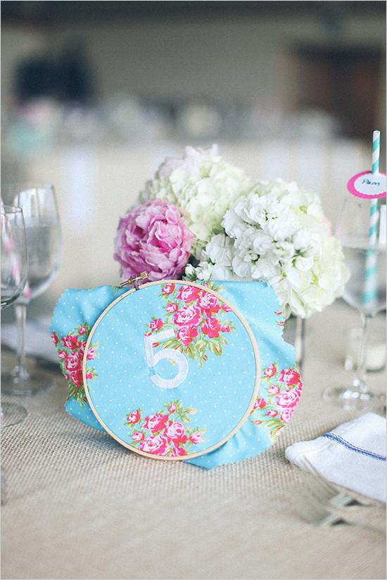 Bastidor en centro de mesa en boda