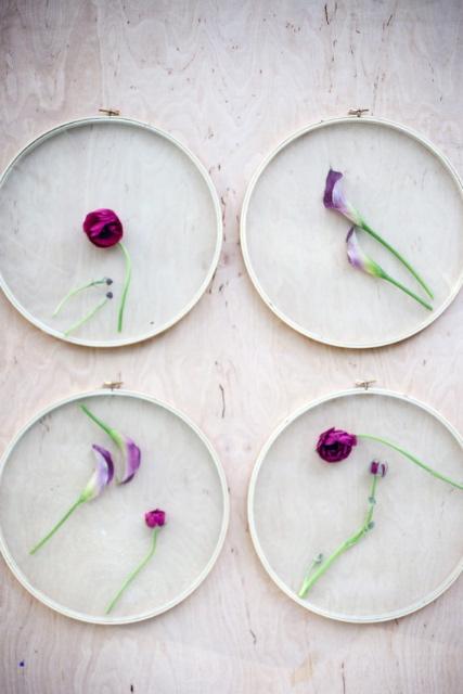 Bastidor con flores naturales