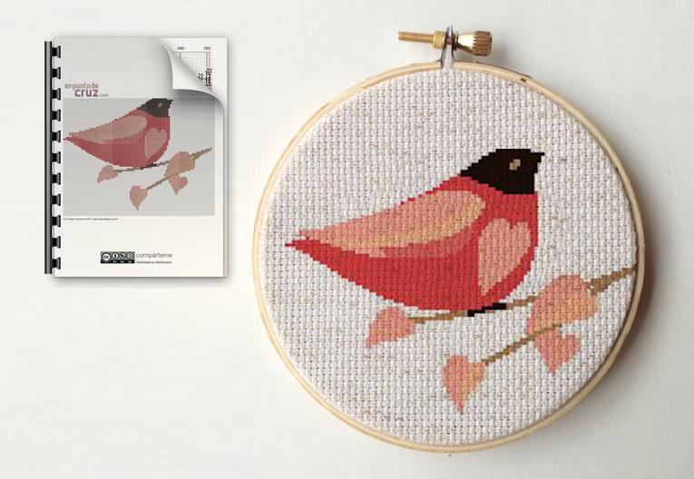Punto de cruz gratis semanal: Pájaro y corazones