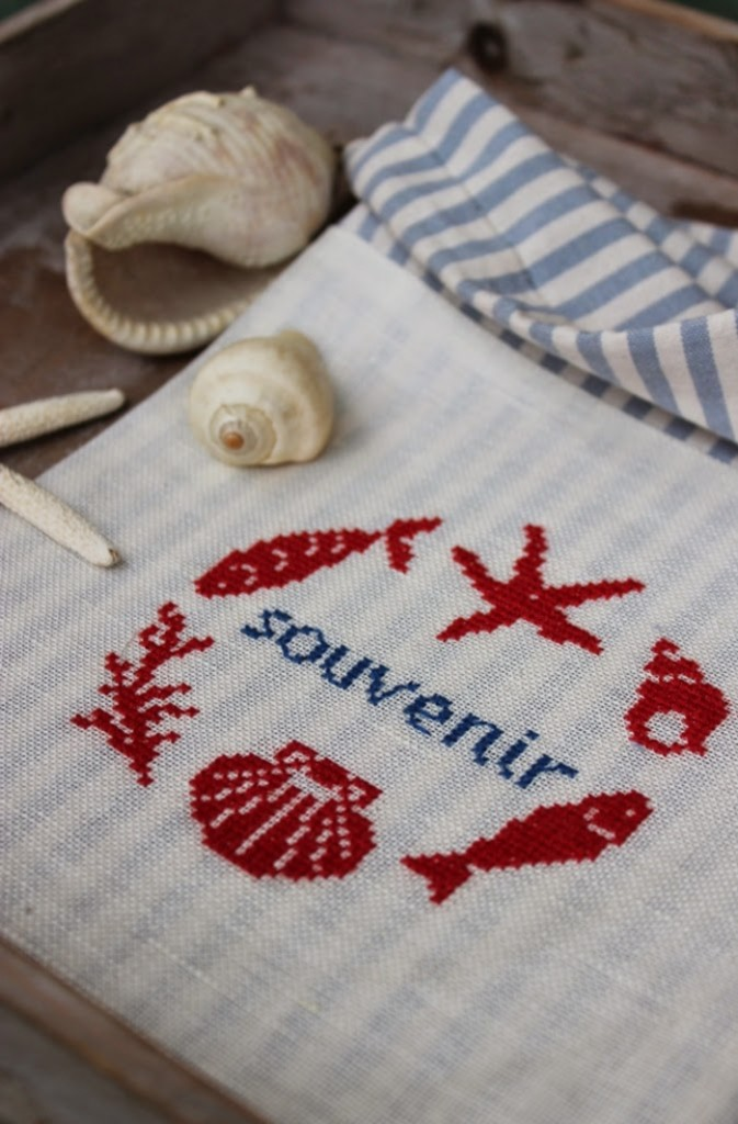 Bolsa bordada para conchas de la playa