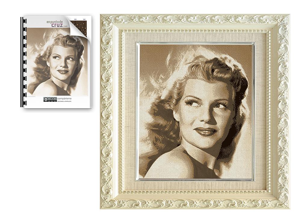 Foto a punto de cruz de Rita Hayworth
