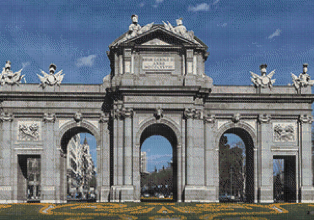 Patrón punto de cruz de la Puerta de Alcalá de Madrid