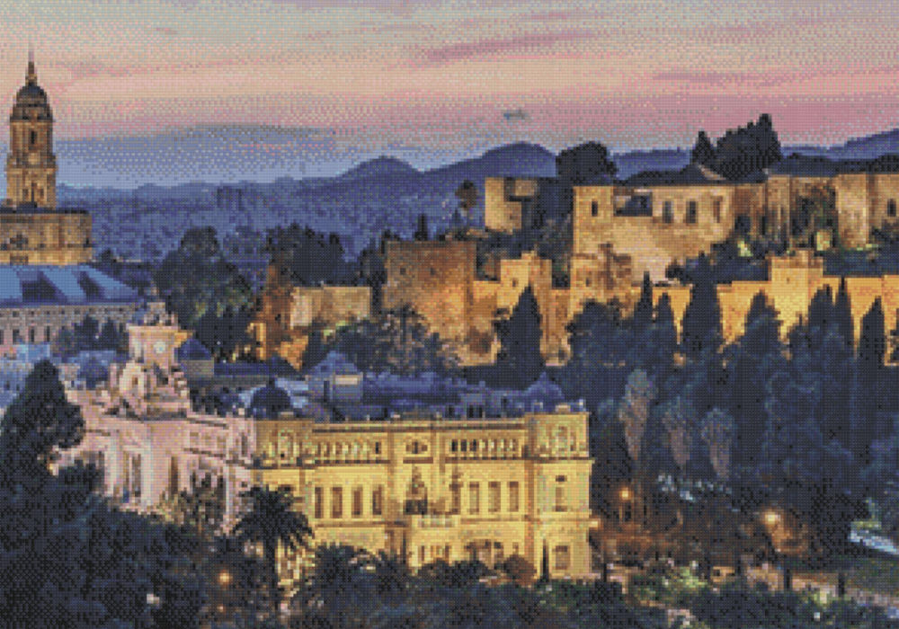 Patrón punto de cruz de la Alcazaba, Ayuntamiento y Catedral de Málaga