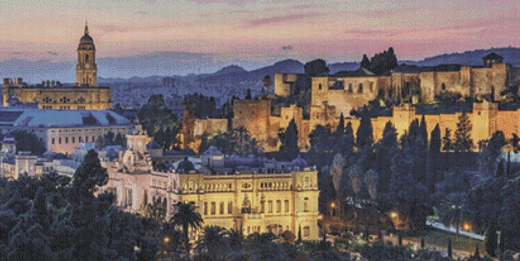 Punto de cruz vista de Málaga