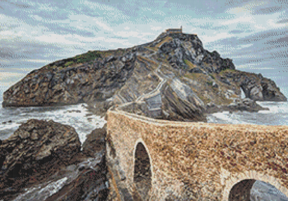 Patrón punto de cruz de Gaztelugatxe País Vasco