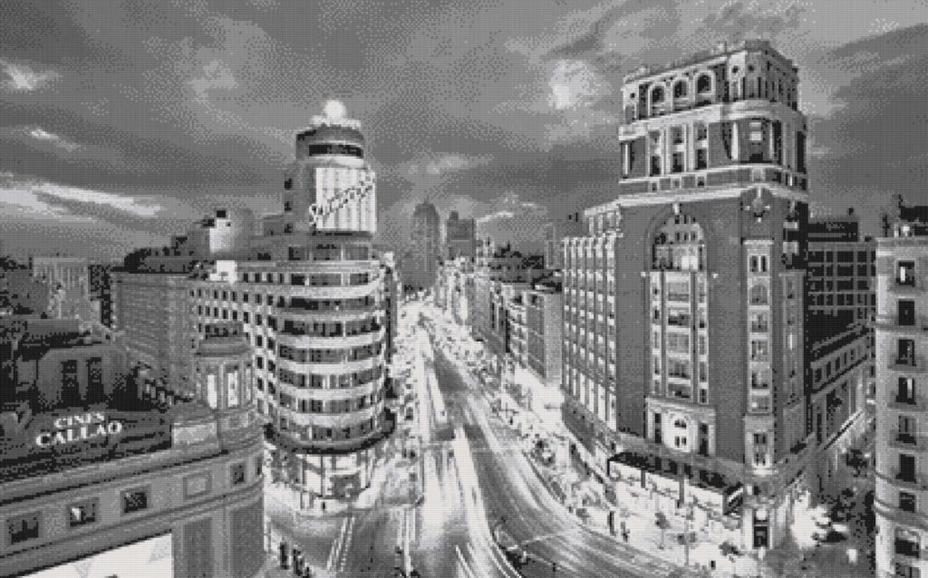 Patrón punto de cruz Gran Vía de Madrid