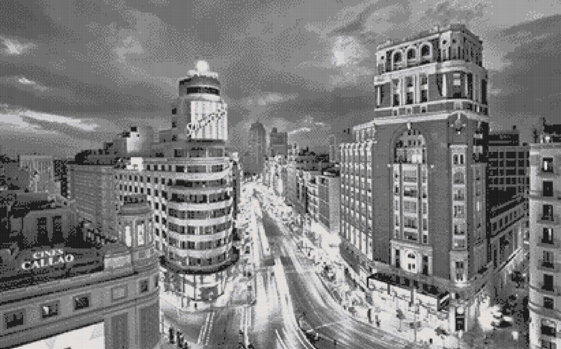 Patrón punto de cruz de la Gran Vía de Madrid