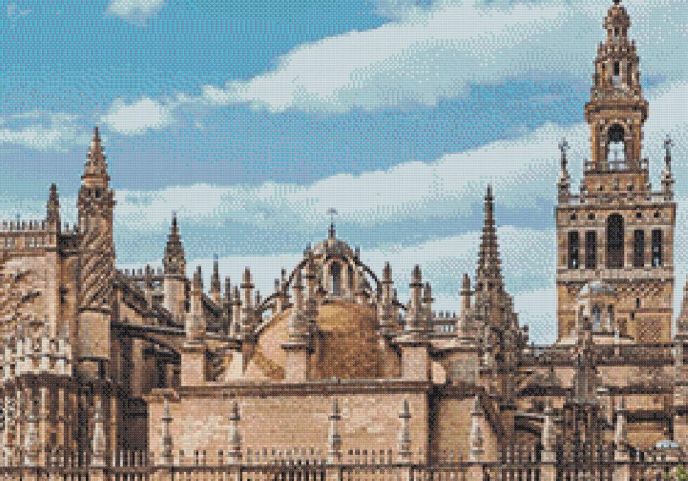 Patrón punto de cruz de la Giralda y Catedral de Sevilla