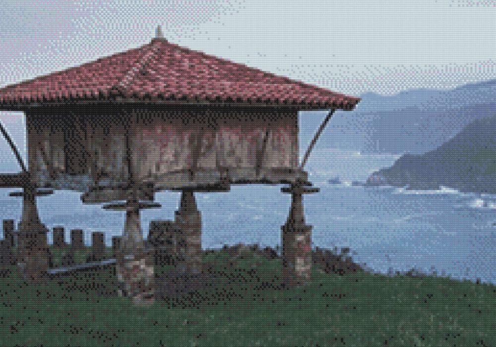 Patrón punto de cruz hórreo asturiano