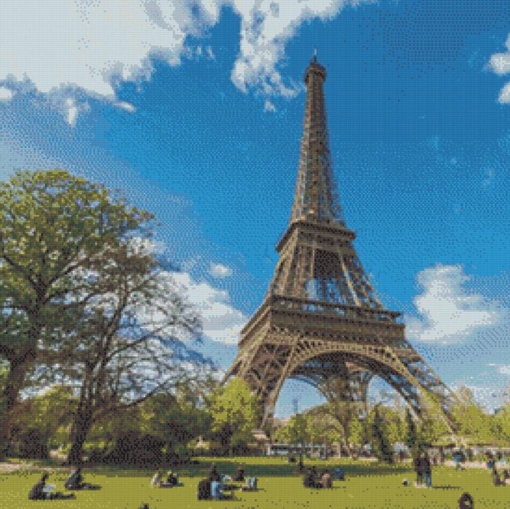 Patrón punto de cruz de la Torre Eiffel