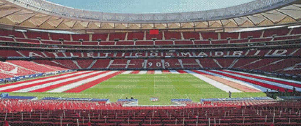 Patrón punto de cruz estadio Wanda del Atlético de Madrid