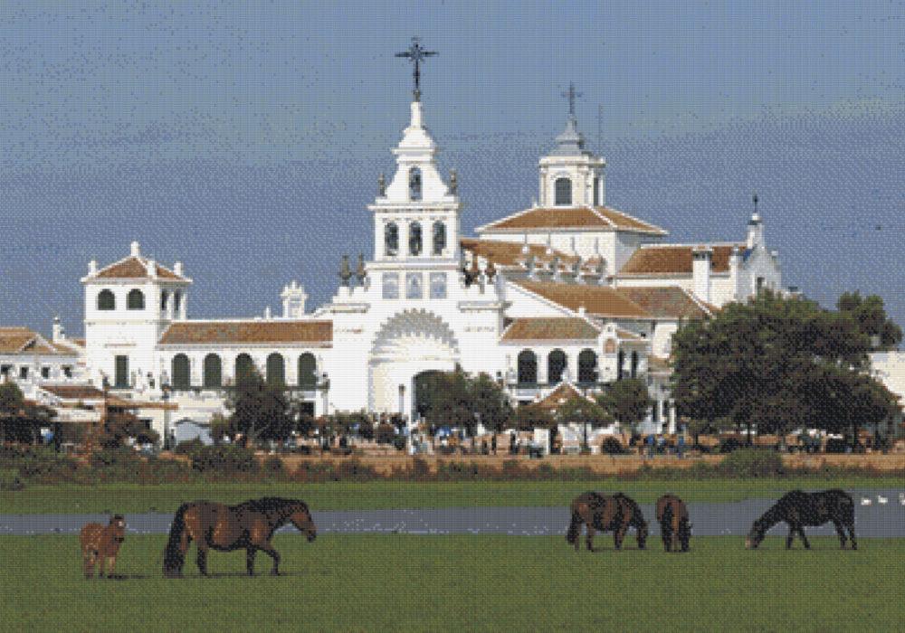Patrón punto de cruz de la Ermita del Rocio en Huelva