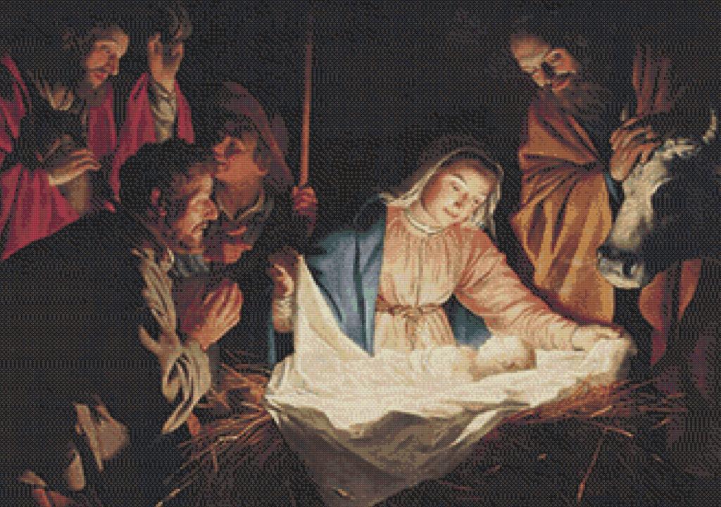 Patrón punto de cruz de Nacimiento de Jesús