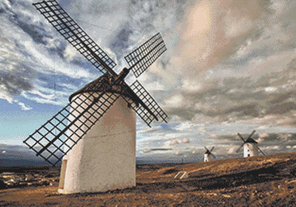 Punto de cruz molinos en Castilla La Mancha