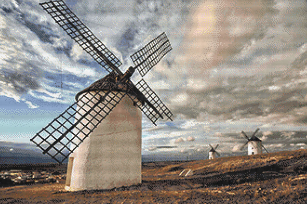 Patrón punto de cruz molinos en Castilla La Mancha
