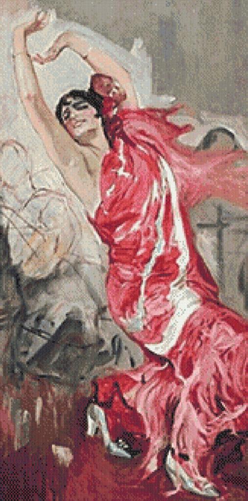 Punto de cruz cuadro Bailaora Flamenca de Sorolla