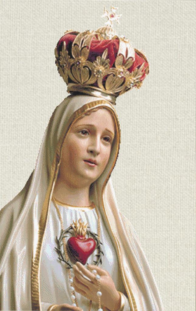 Patrón punto de cruz Virgen de Fátima