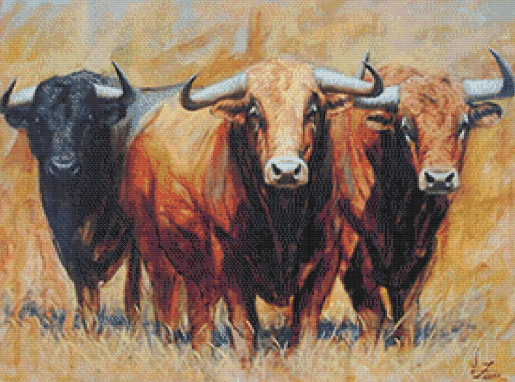 Patrón punto de cruz cuadro de toros