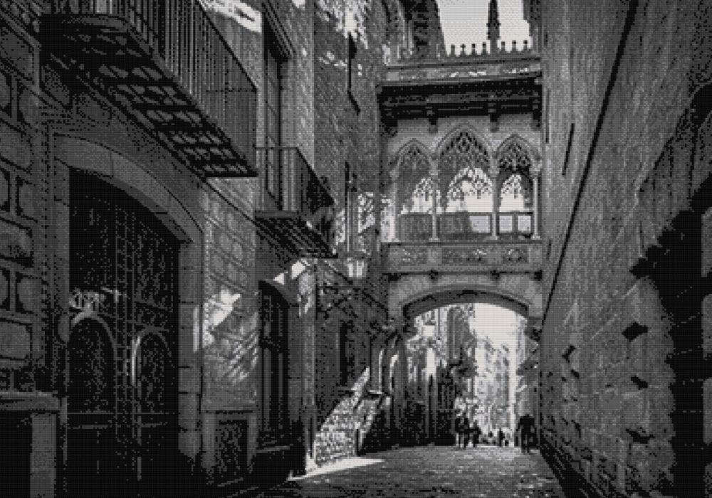 Patrón punto de cruz del Barrio Gótico de Barcelona