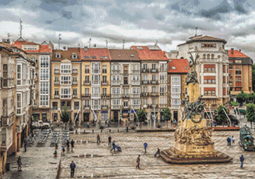 Patrón punto de cruz de la Plaza Vieja de Vitoria