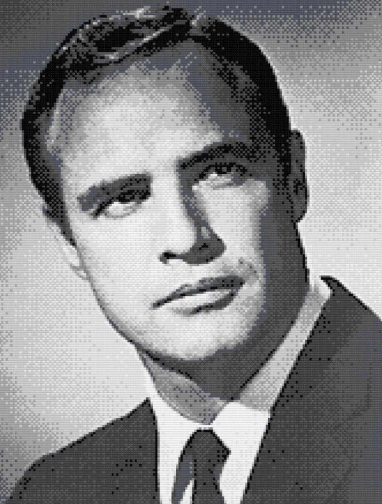Patrón punto de cruz retrato Marlon Brando
