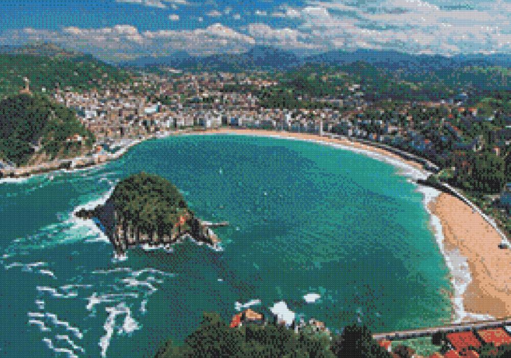 Patrón punto de cruz de la playa de La Concha en San Sebastián