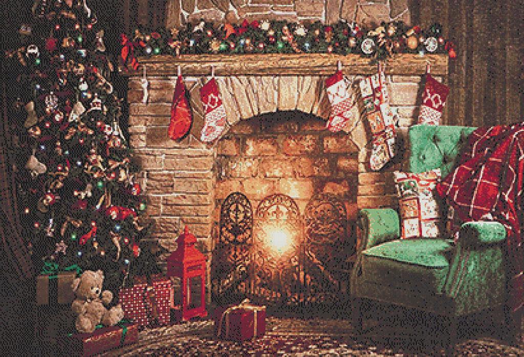 Patrón punto de cruz hogar en Navidad